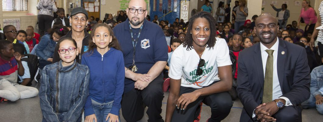 April 22, 2016: Sports Safety Clinic with WNBA All-Star Tina Charles.